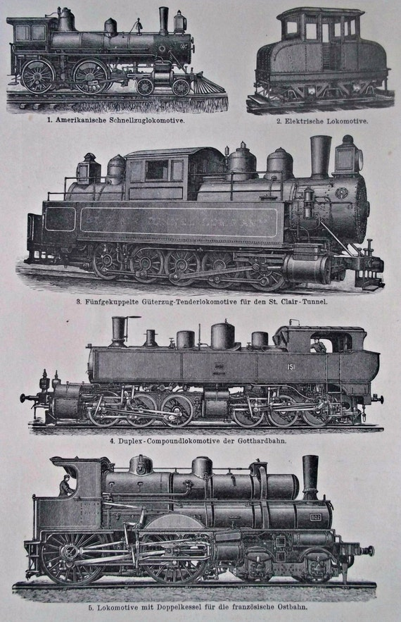 Ancient locomotives print. Old book plate, 1901. Antique illustration. 113 years lithograph. 9'6 x 6'2 inches.