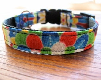 Colorful Dog Collar, XS dog collar, extra small dog collar, bright colors, toy dog collar, cute dog collar, flowered dog collar,