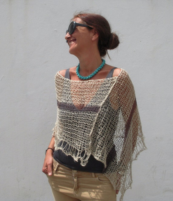 Knitting Pattern For Summer Poncho : Linen poncho hand knit poncho summer knit knit linen