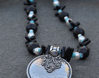 Black and Turquoise Necklace-Black Necklace-Swarovski Crystals-Sterling Silver Bali Pendant-Black and Turquoise Drop Necklace