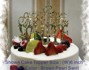 Monogram Keepsake Cake Topper Mr and Mrs With Your Family Name  - Handmade Custom Wedding Unique Cake Topper