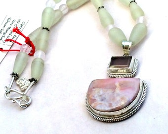 """18"""" Rhodochrosite, Rose Quartz Pendant Necklace. Sterling Silver, Pink, Hinged, Frosted Resin, tiny Buddha amulet, free US ship 179.00"""