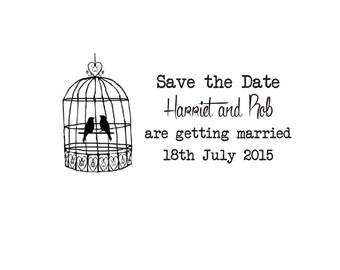 Custom Wedding Stamp, Save the date stamp birdcage