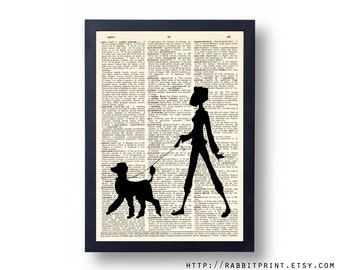 Poodle Walker Dictionary art Print, 8x10 Poodle Wall Decor, Dog illustration Wall Art Print, Vintage Dictionary Page Print, Book Print