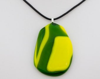 Green and yellow unique shaped fused glass pendant