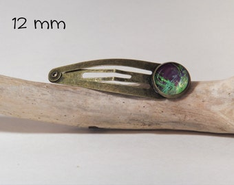 Abstract hair clip SNAP 12 mm diam. Round glass and metal silver finish