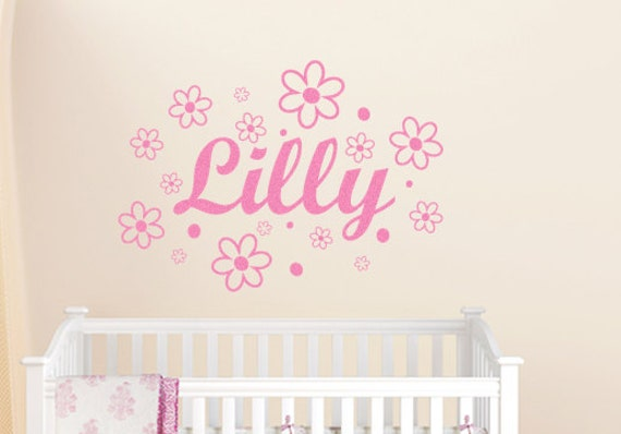Personalized Name Wall Decal with Flowers Vinyl Decal Nursery Wall Art Childrens Decor Girls Room Teen Wall Art