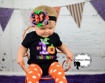 My 1st Halloween - Girls Applique Black Shirt or Bodysuit and Matching Hair Bow Set for First Halloween