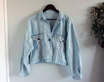 Vintage Light Blue Faded Denim Jacket / Jean Jacket Oversize