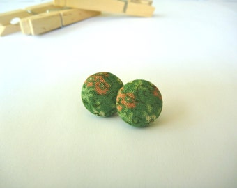 Green & Pink Floral Fabric Button Post Earring.