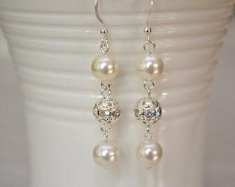 Ivory Pearl Rhinestone Dangle Earrings - Wedding Earrings - Bridal Jewellery - Ivory and Silver - Elegant Pearl Earrings - Bridal Earrings