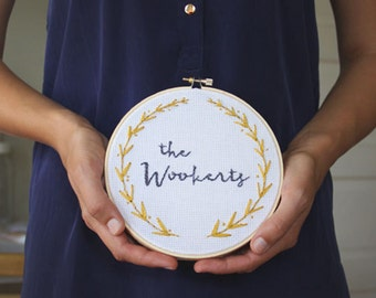 "Custom made embroidered name 6"" wood hoop art. Name & date or short phrase with gold leaf border"