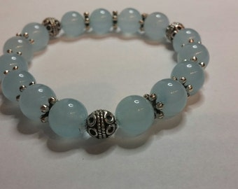 Throat Chackra Blue Aquamarine Bracelet - Reiki Charged Gemstone Jewelry  for Communication and Self-expression