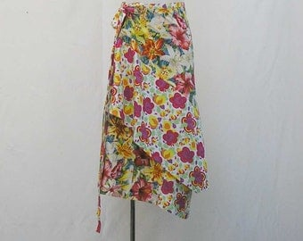 Plus size Skirt, plus size wrap skirt, asymmetrical wrap skirt, yellow red white green, 1x 2x 3x skirt, upcycled skirt, OOAK, one of a kind