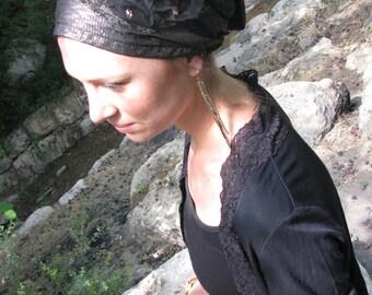 Fancy headcovering, tichel, head scarf, chemo scarf,hair snood, sinar tichel,bandana