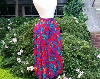 80s Floral Skirt Abstract Painterly Red Pleated Skirt M/L