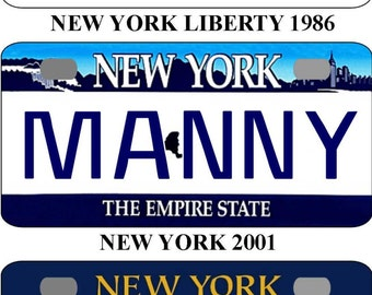Personalized New York Liberty 1986, 2001, 2010 BICYCLE replica license plate accessory overlaminated