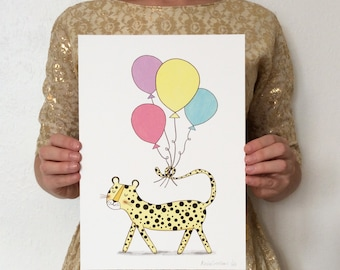BIRTHDAY CHEATER party with balloons giclée print A4 Limited Edition