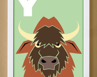 alphabet letter Y, yak, custom colors, alphabet art, nursery decor, kids initials, kids room art, 4X6, 5X7, 8X10
