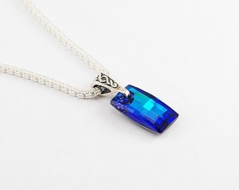 FREE SHIPPING! Bermuda Urban pendant in Swarovski Cristal on sterling silver double venitian chain, mens necklace, men chain, chain necklace