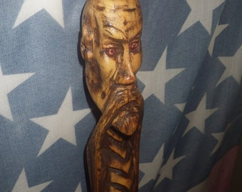 E.B. Krampus hand carved wood staff inspired by the krampus folklore