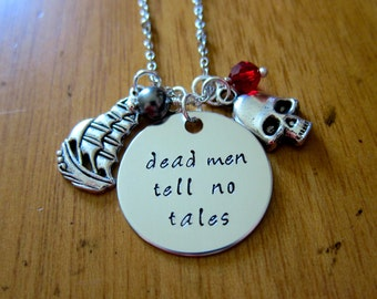 Dead men tell no tales. Pirate Necklace. Hand stamped Necklace. Skull, pirate ship, Swarovski elements crystals.
