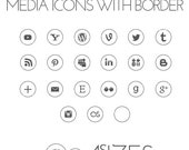 White Round Social Media Icons with Border - 4 sizes - Design elements to decore your blog or website - .png with transparent background