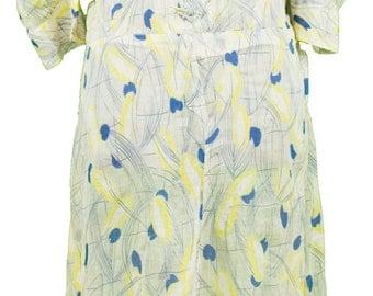 1930s Plus Size Large Dress Abstract Print Puff Sleeves Yellow Blue Sheer Novelty Art Deco Curvy XL Geometric Picasso Dada Drop Waist Mod