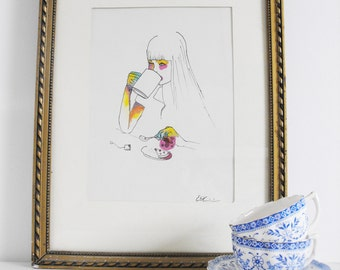 The girl with the Cup, signed and limited print