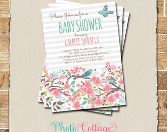 Baby Shower Invitation, Bird Baby Shower Invitations, Baby Boy invitation, Baby Girl Invitation, BBS105