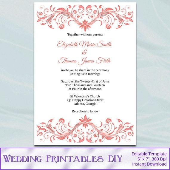 Diy Wedding Invitations Templates: Coral Wedding Invitation Template Diy Printable Bridal Shower