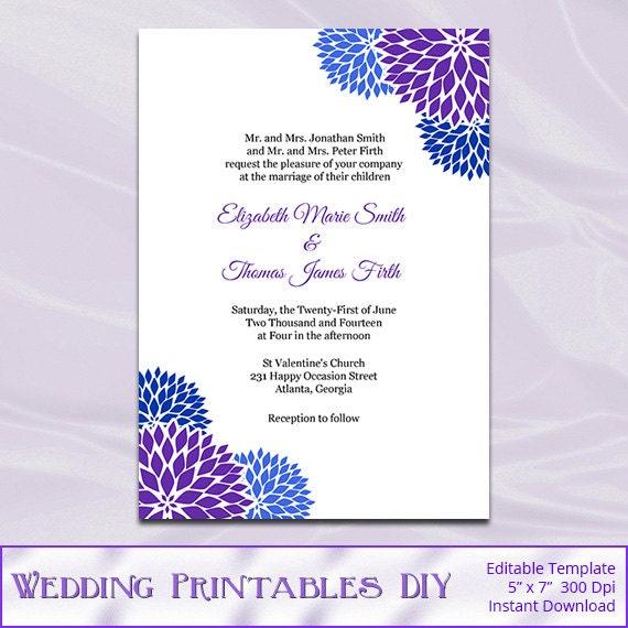 Items similar to Royal Blue Purple Wedding Invitation Template ...