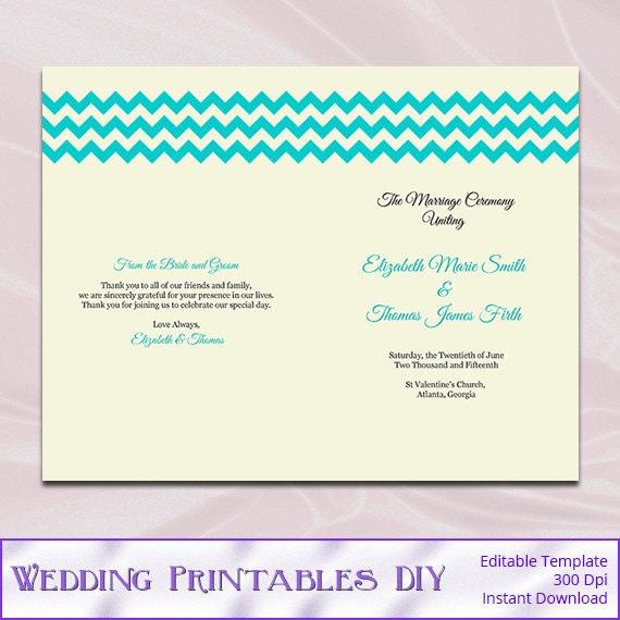 Diy Rustic Half Fold Wedding Program By WeddingPrintablesDiy