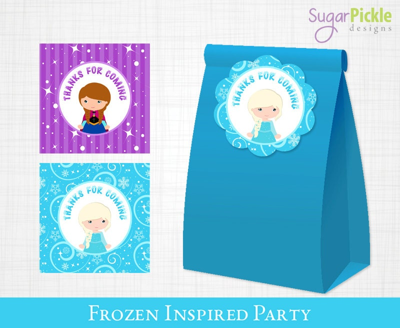 It's just a picture of Bright Frozen Party Bag Labels