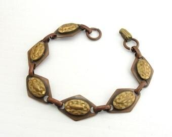 Vintage Aged BRASS & COPPER Layered Diamond Link Bracelet