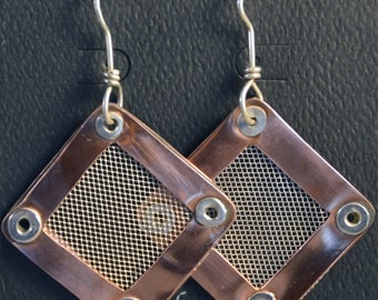 Copper and Sterling Silver Mesh Earrings