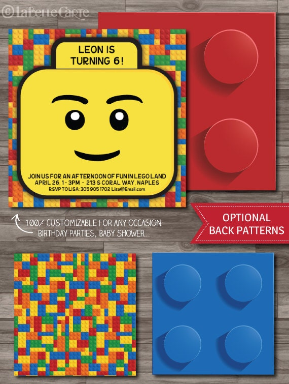 lego invitation card. unavailable listing on etsy. cards, Party invitations