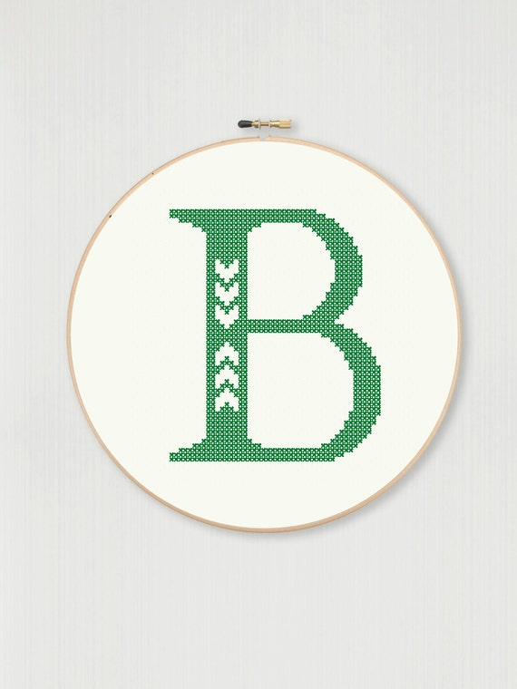 cross stitch letter b pattern with chevron detail instant