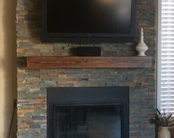 "Fireplace mantel. 48"" Long x 5.5"" Tall x 5.5"" Deep.Floating shelf.Fireplace Mantel .TV Shelf .Wooden Mantel.Home Decor.Fireplace Decor."