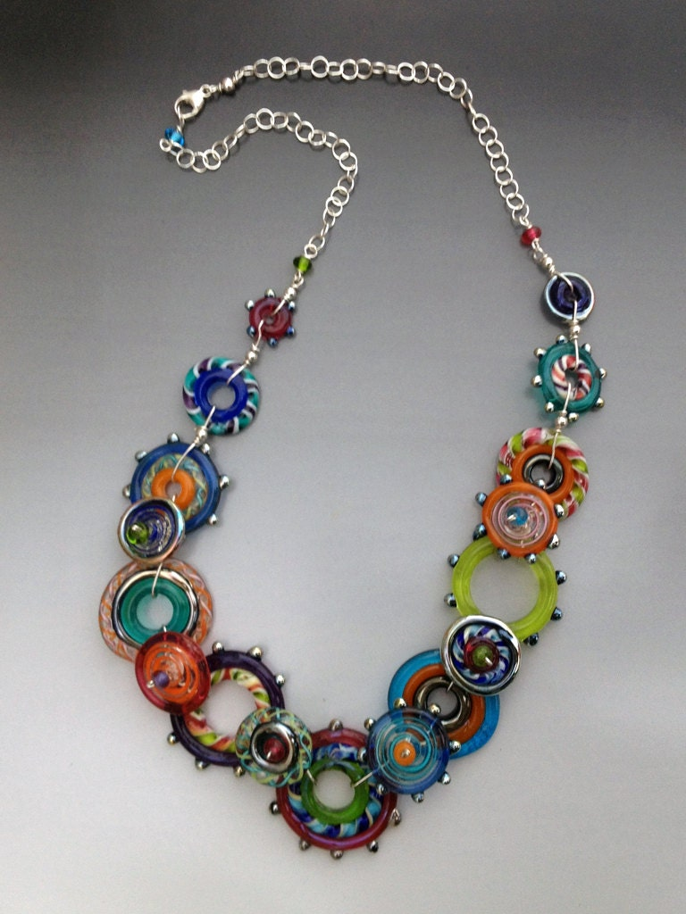 glass necklace spirograph collection handmade glass