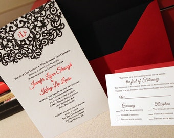 Elegant Monogram Letter Press Wedding Invitations DEPOSIT