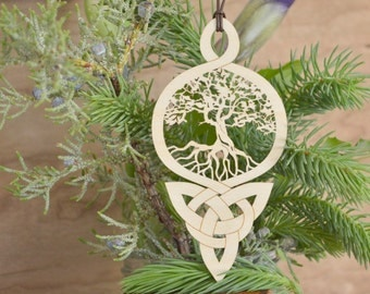 Tree of Life Celtic knot ornament woodcut tree of life Celtic knot decoration
