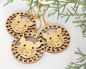 Rat face pendant ornaments Set of three, wood cut decoration for jewelry making, crafting