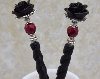 Bella Rosa - Sturdy Burgundy and black Rose  Bone Hair sticks - BRHS