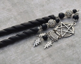Natural Magick - Pagan Hair sticks - Wicca Pentagram Hairsticks Onyx and Silver Color - NMHS - Free US Shipping