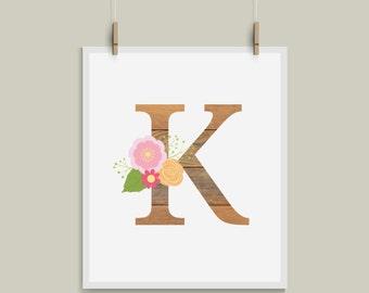 Old Wood Letter K Initial Monogram Alphabet Nursery Art Great for Weddings