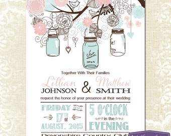 Mason Jar Wedding Invitation - Pink and Blue Mason Jar Wedding Invite - Rustic Barn Vintage Wedding Invitation - 6113 PRINTABLE