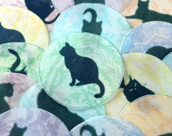 Edible Black Cats Purrrfect Pastel Lace Wafers Rice Paper x 15 Halloween Cake Cupcake Biscuit Cookie Decoration Toppers Med. Circles 5cm
