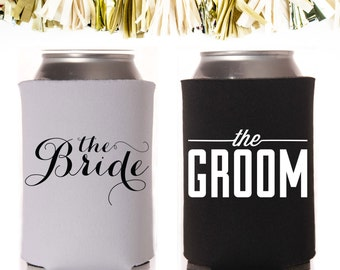 Bride and Groom Can Cooler Pair
