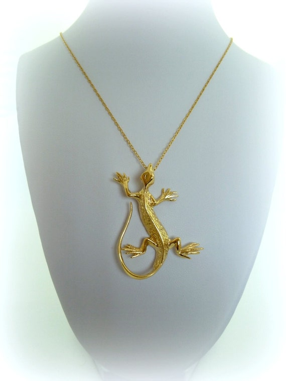 lizard necklace gold fill 14k lizard animal by myartisanstore